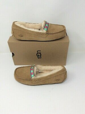 e48d870b51e UGG ANSLEY EMBROIDERY Suede/ Sheepskin Moccasin Slippers, Us 7/ Eur ...