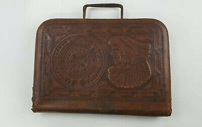 Leather Aztec Mayan Calendar Hand Tooled Attache Briefcase Bag Tan vintage!