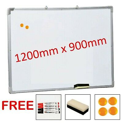 Magnetic Dry Wipe White Board Notice 1200 x900 mm Free Accessories Large Quality