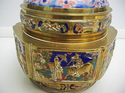 "Vintage Oriental Lidded Box Handpainted Porcelain Marked ""China"" Brass Cloisonne"