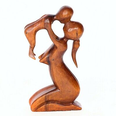Fair Trade Hand Carved Wooden Abstract Figure - MOTHER AND BABY