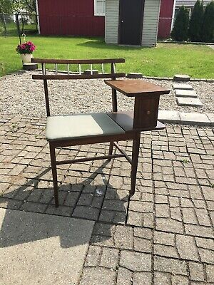 Mid Century Modern Gossip Bench Telephone Chair Table Chair Original Production