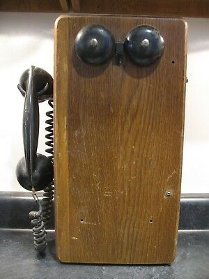 Antique Unrestored Original Oak Wood Wall Hand Crank Telephone Iowa Farmhouse
