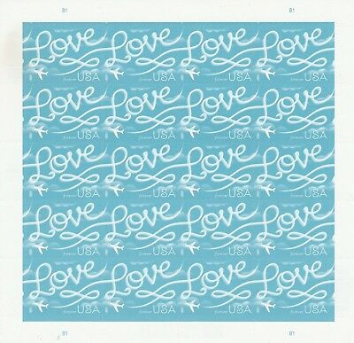 Scott# 5155 LOVE SKYWRITING 2017 MNH SHEET of 20 SELF-ADH FOREVER STAMPS