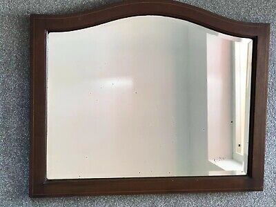 Antique Arch Mirror 1910s 1900s Inlaid Wood Mahogany Veneer Distressed Bevelled