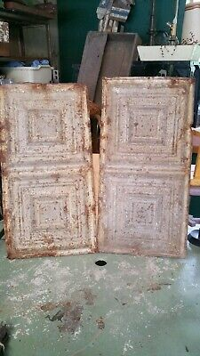 "Vintage Industrial Tin Ceiling Tiles 24"" X 12""."