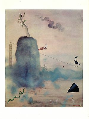 """1973 Vintage SURREALISM """"GENESIS"""" by YVES TANGUY Color Art Print Lithograph"""