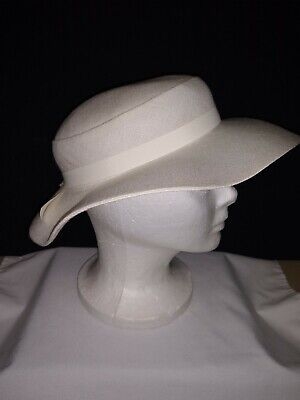 Ladies Medium - Large Vintage White Linen Large Brim Floppy Church Hat With Bow