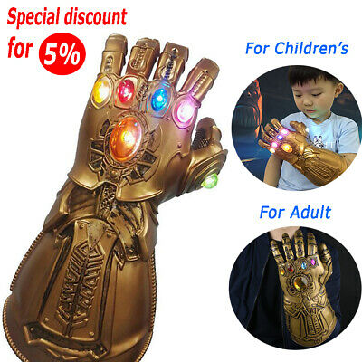 Avengers Infinity War Infinity Gauntlet LED Light Thanos Gloves Cosplay Prop A4
