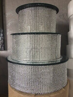 """3 Tier Crystal Mirror Topped Wedding Cake Stand 12"""" 10"""" 8"""""""