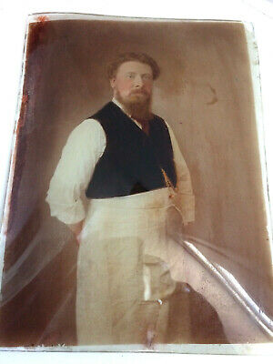 Unusual Antique 19th Century Reverse Glass Painted Portrait of a Shopkeeper