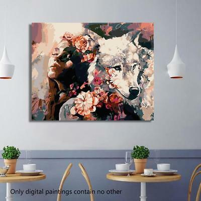 Unframed Wolf and Girl Modern paint Oil Painting Abstract Art Decorate On Canvas