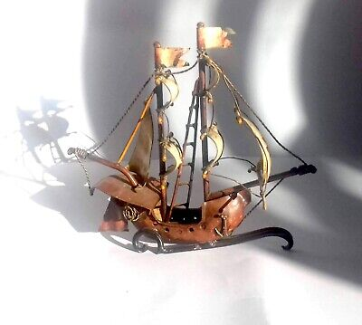 Antique Painted Cast Iron Brass Crusades Galleon Sailing Ship Model On Stand
