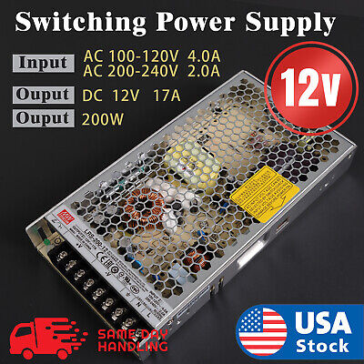 Mean Well LRS-200-12 Power Supply 12V 17A 200W Input 110V/220V AC to DC