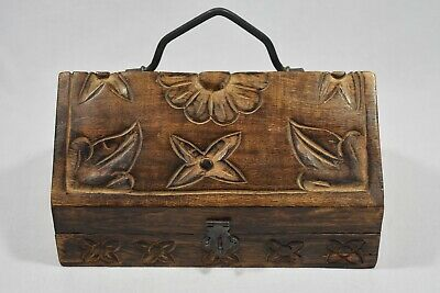 Carved Wooden Trinket Box With Handle - Carved Flowers and Leaves