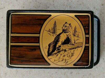 Vintage 1984 Bear Trees Forest Outdoors Solid Brass Nap Inc Belt Buckle