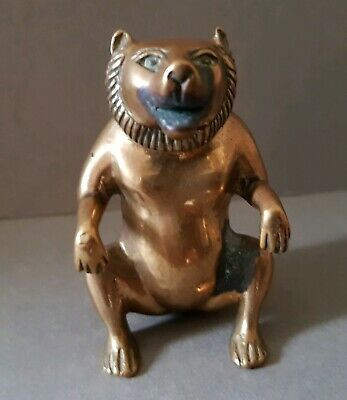 UNUSUAL, WELL PATINATED 19thc. HAND MADE  INDIAN BRONZE FIGURE of a SEATED BEAR.