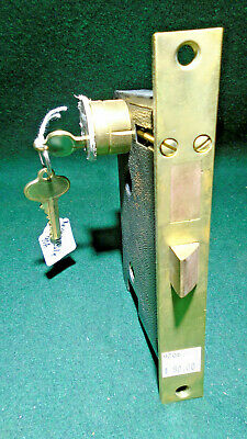 """E-Z MORTISE ENTRY LOCK w/KEYED CYLINDER 7"""" FACEPLATE - VERY NICE    (9206)"""