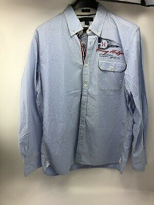 Tommy Hilfiger Mens L Shirt Custom Fit Sailing Nautical Boat Striped Spellout