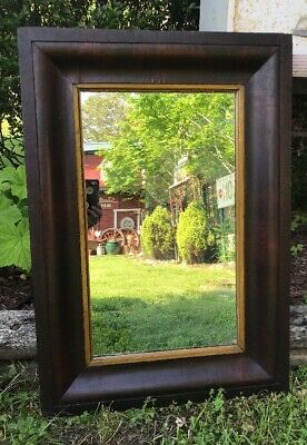Vtg 1900-20's Large Hall Mirror Walnut Veneered Thick Frame Wooden Back