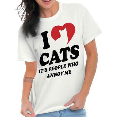 Cute I Love Cats People Annoy Me Joke Pet Lady Funny Heart Classic T Shirt Tee
