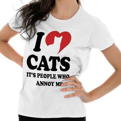 Cute I Love Cats People Annoy Me Joke Pet Lady Funny Heart Ladies Tee Shirt T
