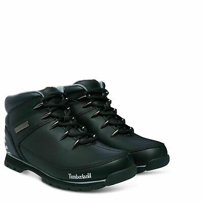 Timberland A17JR Euro Sprint Mens Leather Hikers Hiking Boots Shoes Black Size