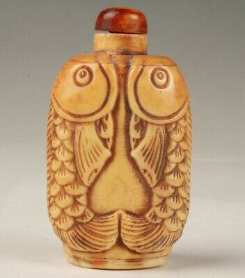 Precious Chinese Cattle Bone Hand-Carved Fish Snuff Bottle Gift Collection