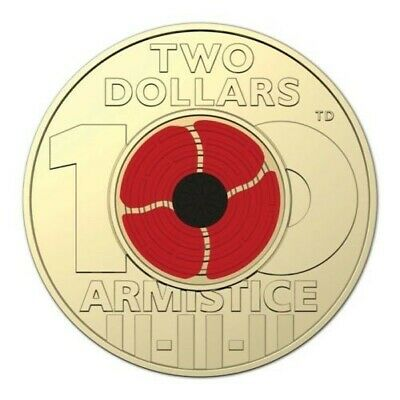 2018 Armistice Remembrance Poppy Single $2 Coin - 100 Years