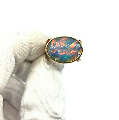 Antique 1920's Art Deco 9ct Rose Gold Large Black Opal Ring Size - N