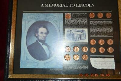 Framed 16 Cent Commemorative Set, 1959-1973, A Memorial To Lincoln, No Reserve