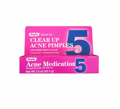 Rugby Acne Acne Medication Benzoyl Peroxide Clear Up Pimples & Cleans Skin 1.5oz