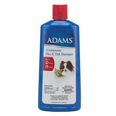 Adams d-Limonene Pet Flea and Tick Shampoo Kills Pests For Dogs & Cats 12oz