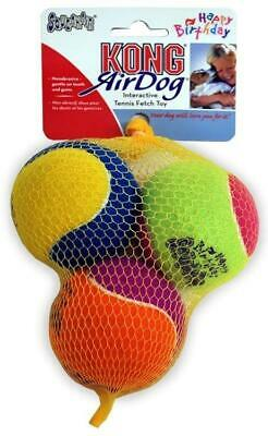 Kong Air Dog 3 Pack Happy Birthday Tennis Balls Fetch Toy