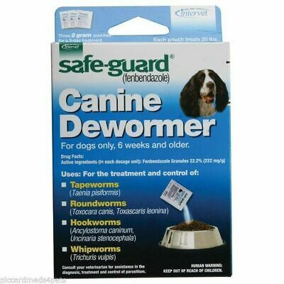 SafeGuard Panacur (fenbendazole) K9 Dogs 20 lbs 2gm 3 Pack dose All Wormer Save
