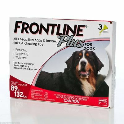 Frontline Plus 89-132 lbs  3 Months Supply  EPA No expiration USA