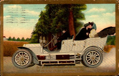 Postcard Romance Couple Kissing in Back of Early Automobile 1910 Postmark