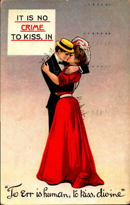 Postcard Romance IT is No Crime to Kiss, In 1910 Postmark