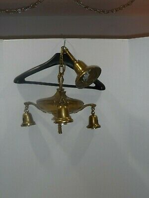 Antique Brass  ART DECO 3 Light Pan Ceiling Hanging Chandelier Arts Crafts