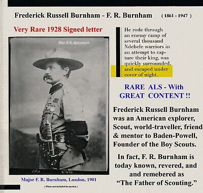 ALS - F.R. [Frederick Russell] Burnham USA Father of Scouting - pal Baden-Powell