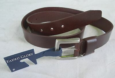 3 PACK 2 All Leather Faded Glory Belts and 1 George Stretch Belt 46-48 2XL