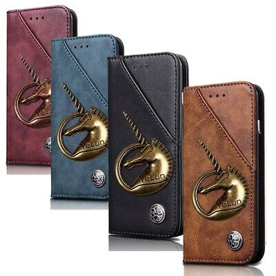 3D Metal Horse Leather Case Flip Wallet Card Holder Cover For OnePlus 7