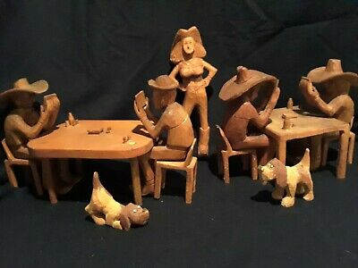 17 Piece Rustic Western Vintage Hand Carved Wood Cowboys Playing Poker