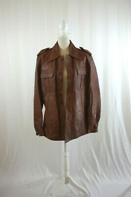 Kincor Mens Jacket Size 46(US-M) Honey Brown Leather 1970s Vintage AS IS
