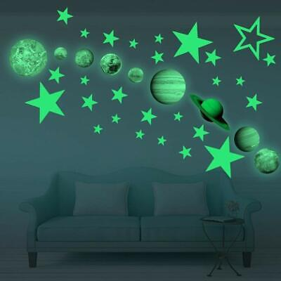 Glow In The Dark Wall Sticker Space Planets Star Moon Kids Baby Bedroom Decor