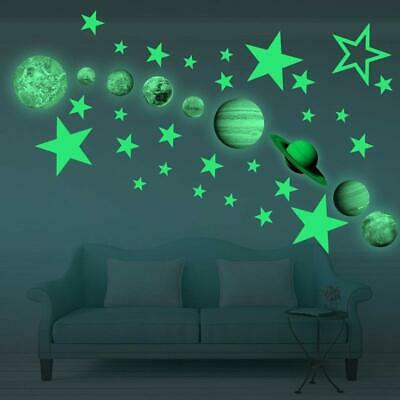 3D Glow in The Dark Planet Star Stickers Wall Decals for Kids Room Wall Ceiling