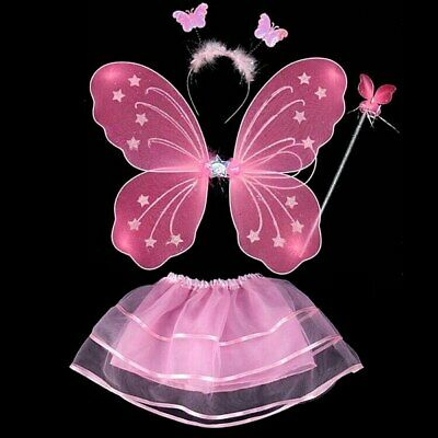 Kids Pixie Wings Fairy Butterfly Tu Tu Dress Up Girls Butterfly Costume 4pcs/set