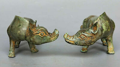 China Ancient Han Dynasty Tomb Burial Bronze Wild Boar Statue Old Ornament Pair
