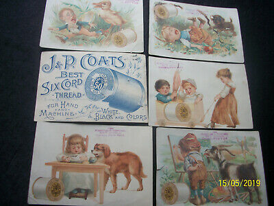 Lot Of 6 Antique Victorian Ad Trade Picture Cards Small All J & P Coats Thread