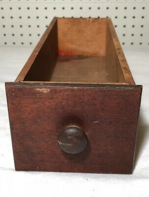 """Antique Small Apothecary or Spice Drawer: Face: 4.5""""x3.75"""". Back: 4.25x3.5x12.5"""""""